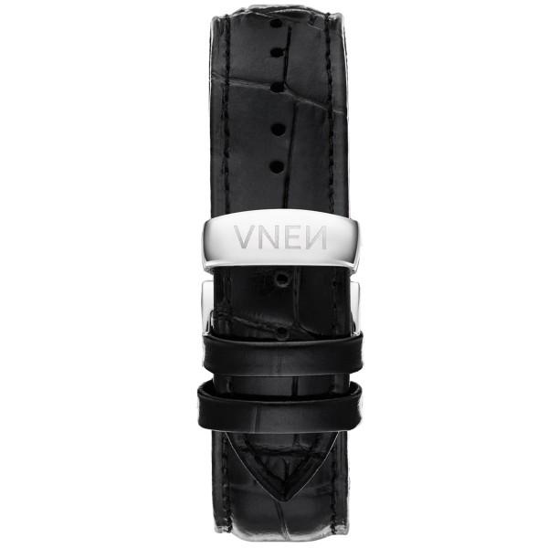 Uhrenarmband Leder | Schwarz Allign. | Pusher Silber